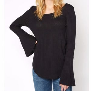 NWT Chaser Black Thermal Bell Sleeve Top